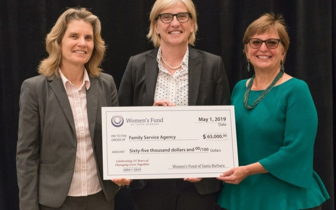 Women's Fund Representative Robin Abrahamson Masson (far right) presented Family Service Agency Executive Director Lisa Brabo (left) and Santa Barbara County Public Defender Tracy Macuga (center) a $65,000 grant to expand the Holistic Defense Program, which integrates social services and legal representation, to help women stabilize their lives and reduce reoffending.