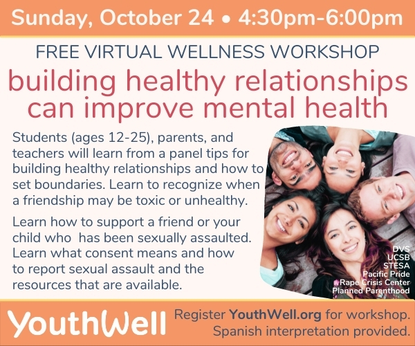 YouthWell Wellness Workshop – Building healthy relationships (Online)